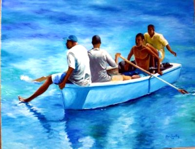 barbados-art-galleries-men-in-a-boat-barbados